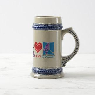 PEACE LOVE HOCKEY GIFTS COFFEE MUGS