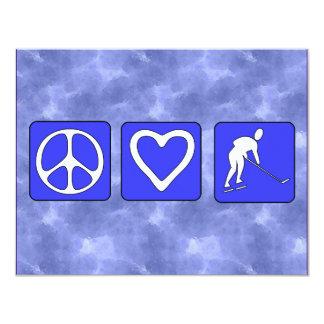 """Peace Love Hockey 4.25"""" X 5.5"""" Invitation Card"""