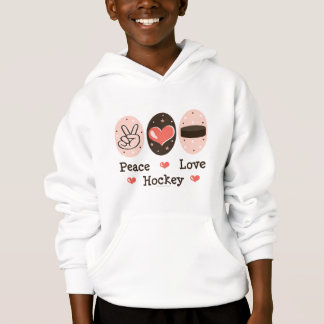 Peace Love Hockey Kids Hoodie