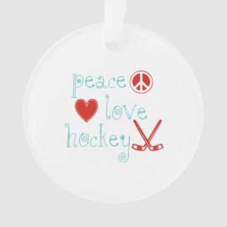 Peace Love Hockey Ornament