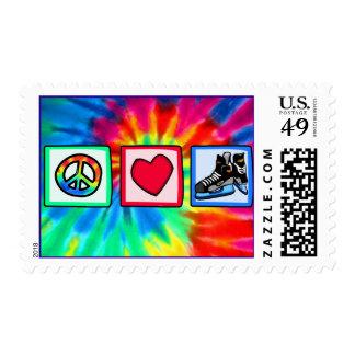 Peace, Love, Hockey Postage Stamp