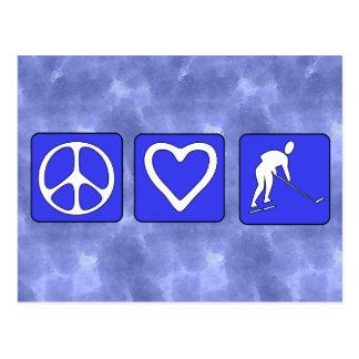 Peace Love Hockey Postcard