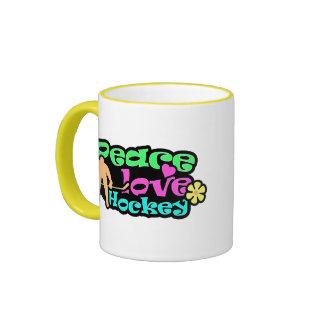 Peace, Love, Hockey; Retro Coffee Mug