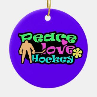 Peace, Love, Hockey; Retro Ornament
