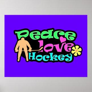 Peace, Love, Hockey; Retro Poster