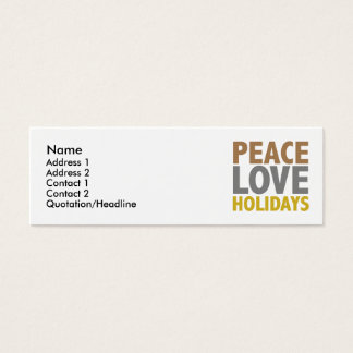 Peace Love Holidays Christmas Design Mini Business Card
