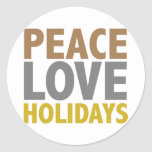 Peace Love Holidays Christmas Design Round Stickers