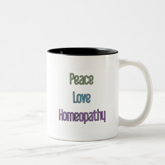 Peace, Love, Homeopathy Two-Tone Coffee Mug