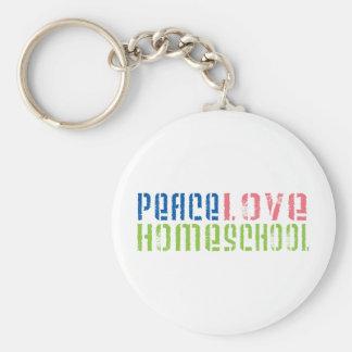 Peace Love Homeschool Basic Round Button Keychain