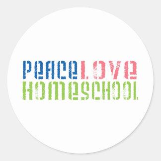 Peace Love Homeschool Round Stickers