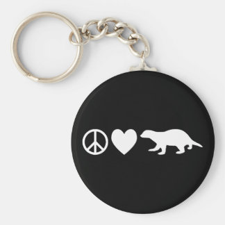 Peace, Love & Honey Badgers Key Chain