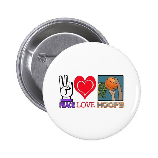 PEACE LOVE HOOPS (basketball) Button