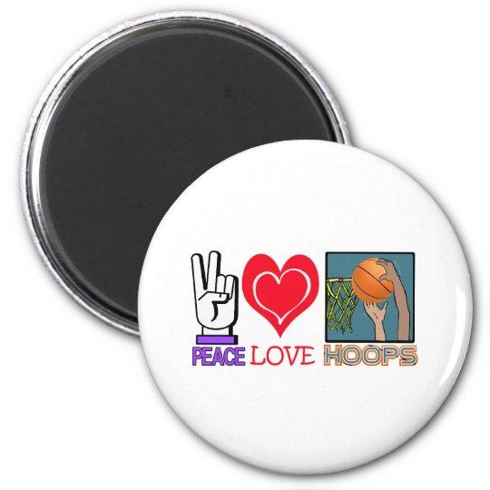 PEACE LOVE HOOPS (basketball) Magnet