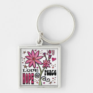 Peace Love Hope and Flowers Keychain