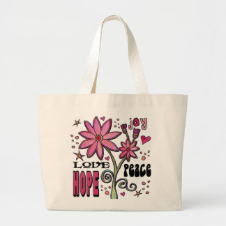 Peace Love Hope and Flowers Large Tote Bag