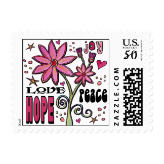 Peace Love Hope and Flowers Postage