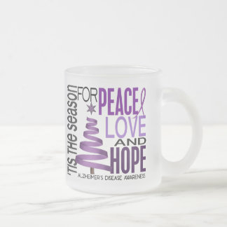 Peace Love Hope Christmas Alzheimer's Disease 10 Oz Frosted Glass Coffee Mug