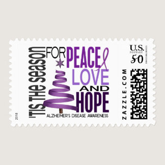 Peace Love Hope Christmas Alzheimer's Disease Postage
