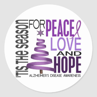 Peace Love Hope Christmas Alzheimer's Disease Classic Round Sticker