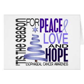 Peace Love Hope Christmas Esophageal Cancer Greeting Card
