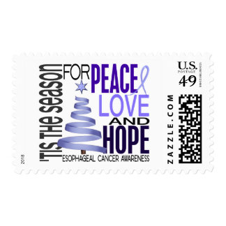 Peace Love Hope Christmas Esophageal Cancer Postage Stamp
