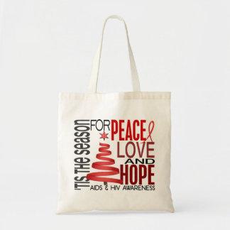 Peace Love Hope Christmas Holiday AIDS Canvas Bag