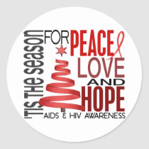 Peace Love Hope Christmas Holiday AIDS Classic Round Sticker