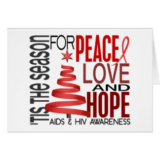 Peace Love Hope Christmas Holiday AIDS Greeting Card