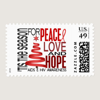 Peace Love Hope Christmas Holiday AIDS Postage