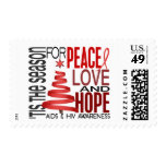 Peace Love Hope Christmas Holiday AIDS Postage Stamp
