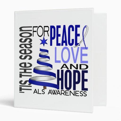 Peace Love Hope Christmas Holiday ALS Vinyl Binders