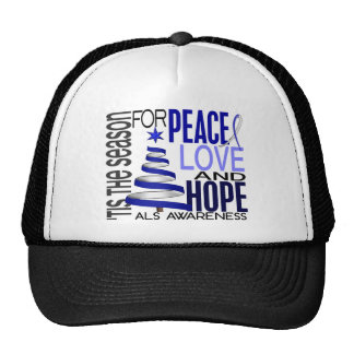 Peace Love Hope Christmas Holiday ALS Trucker Hats
