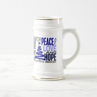 Peace Love Hope Christmas Holiday Arthritis 18 Oz Beer Stein