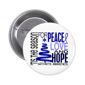 Peace Love Hope Christmas Holiday Arthritis Pinback Button