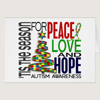 Peace Love Hope Christmas Holiday Autism Card