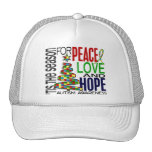 Peace Love Hope Christmas Holiday Autism Hat