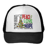 Peace Love Hope Christmas Holiday Autism Hats