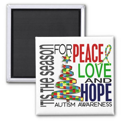 Peace Love Hope Christmas Holiday Autism 2 Inch Square Magnet