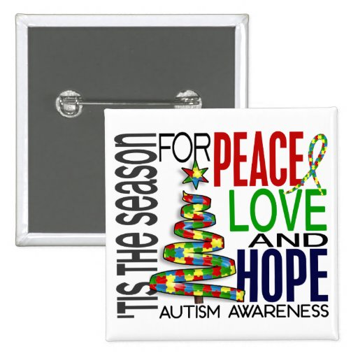 Peace Love Hope Christmas Holiday Autism Pin