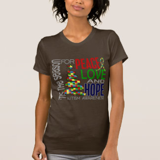 Peace Love Hope Christmas Holiday Autism T-Shirt