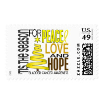 Peace Love Hope Christmas Holiday Bladder Cancer Postage