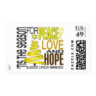 Peace Love Hope Christmas Holiday Bladder Cancer Postage Stamp