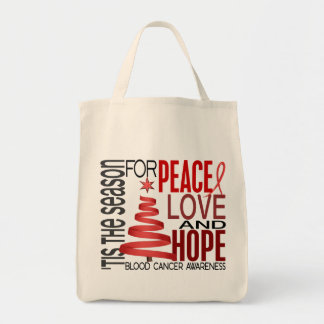 Peace Love Hope Christmas Holiday Blood Cancer Tote Bag