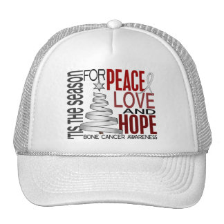 Peace Love Hope Christmas Holiday Bone Cancer Trucker Hats