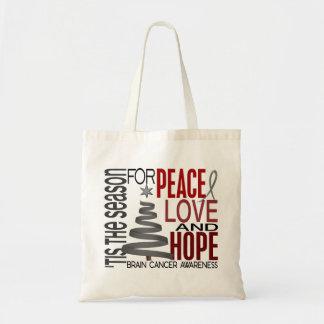 Peace Love Hope Christmas Holiday Brain Cancer Tote Bag