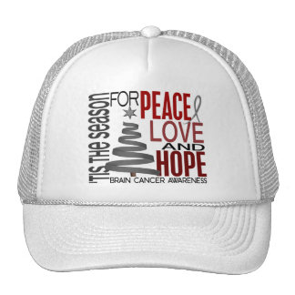 Peace Love Hope Christmas Holiday Brain Cancer Mesh Hats