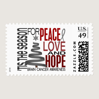 Peace Love Hope Christmas Holiday Brain Cancer Postage