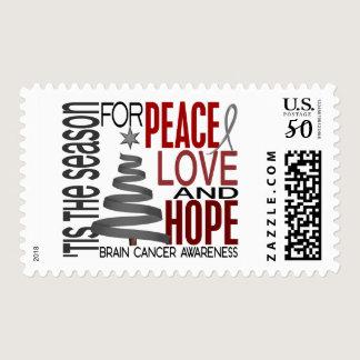 Peace Love Hope Christmas Holiday Brain Cancer Postage