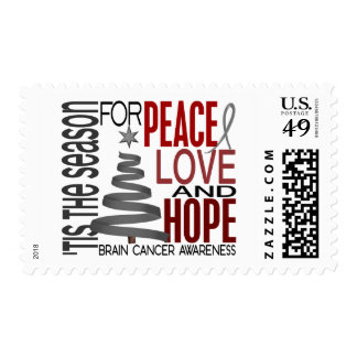 Peace Love Hope Christmas Holiday Brain Cancer Stamp
