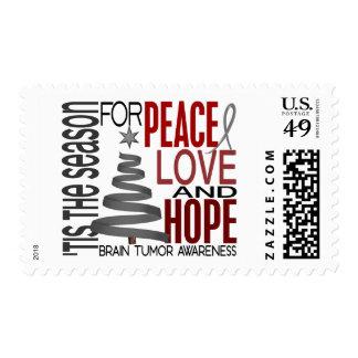 Peace Love Hope Christmas Holiday Brain Tumor Postage Stamp